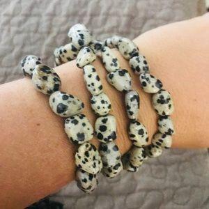 Tiny Dalmatian jasper stone bracelet